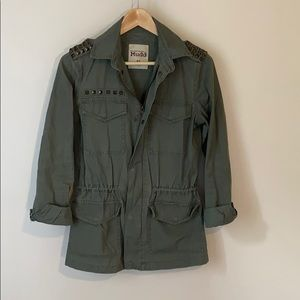Mudd olive green military jacket with metal studs
